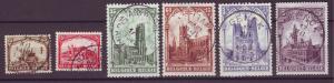 J21282 Jlstamps 1928 belgium set used #b78-83 buildings