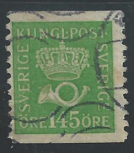 Sweden #159 145o Crown & Post Horn