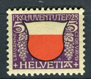 SWITZERLAND; Early Pro-Juventute issue 1928 Mint hinged 5c. value