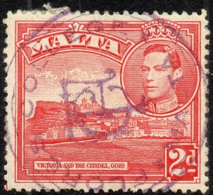 1943 Malta Sg 221b 2d scarlet with Flores College Fiscal Cancellation