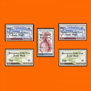 Emergency Strike Mail 1971 opt on Lundy Italy Mail Decimals Black INVERTED Opt