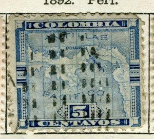 PANAMA; 1892 early Map issue fine used 5c. value