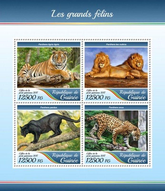 Guinea - 2017 Big Cats - 4 Stamp Sheet - GU17415a