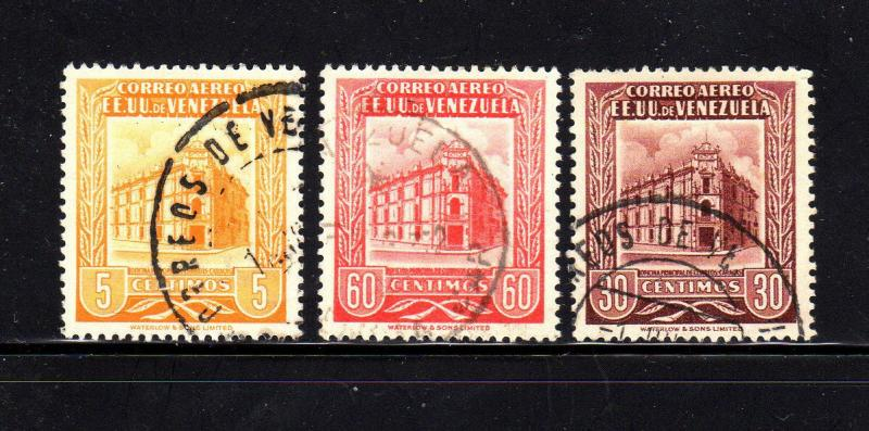 VENEZUELA #C587-C589  1954  POST OFFICE    F-VF USED