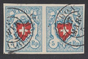 SWITZERLAND  An old forgery of a classic stamp - pair.......................B211