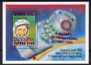 Guyana 1990  Mi.Bl.80B ROTARY INTERNATIONAL/SPACE RED OVPT.S/S MNH