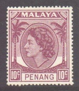 Malaya Penang Scott 35 - SG34, 1954 Elizabeth II 10c MH*