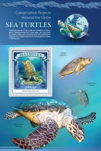 MALDIVES 2015 SHEET TURTLES MARINE LIFE mld15903b
