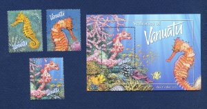 VANUATU - Scott 838-840a  - FVF MNH - Sea Horses, Seahorse - 2003