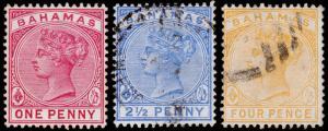 Bahamas Scott 27-29 (1884) Used/Mint H F-VF, CV $17.00 M