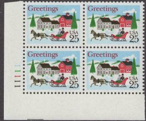 Scott # 2400 - US Plate Block Of 4 - Horse & Sleigh with Village - MNH - 1988