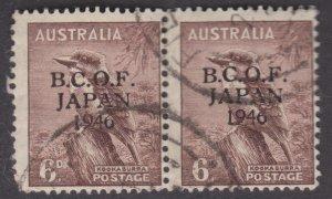 AUSTRALIA RARE 1946 (BCOF overprint) 6D KOOKABURRA PAIR USED
