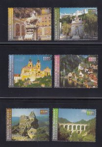 United Nations Vienna  #302-307    MNH  2002  Austrian tourist attractions