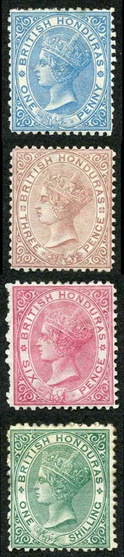 British Honduras SG5/10 Wmk CC Perf 12.5 Set of 4 Fresh M/M (hinge remainder)