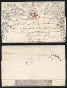 Penny Mulready Lettersheet 9th Feb 1841 Last Official Day of the Red Cross