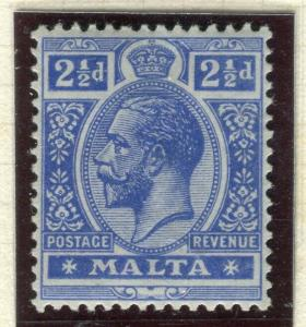 MALTA; 1914 early GV issue fine Mint hinged Shade of 2.5d. value