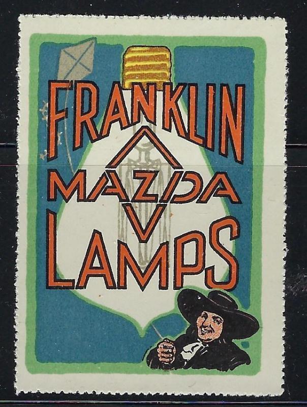 VEGAS Early 1900s Franklin Mazda Lamps Promotional Poster Stamp (CQ120)