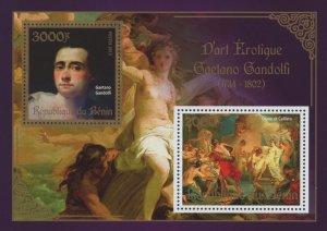 Erotic Art Paintings Gaetano Gandolfi Souvenir Sheet of 2 Stamps Mint NH