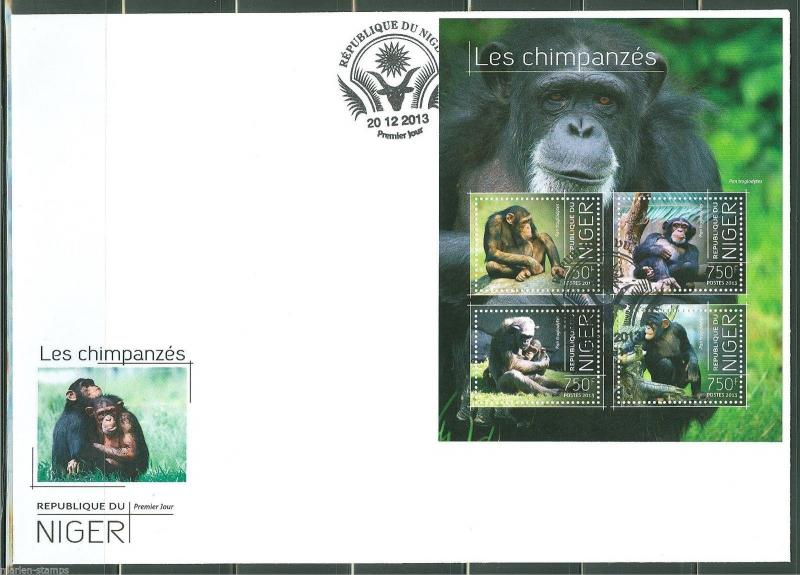 NIGER  2013 CHIMPANZEES  SHEET FIRST DAY COVER