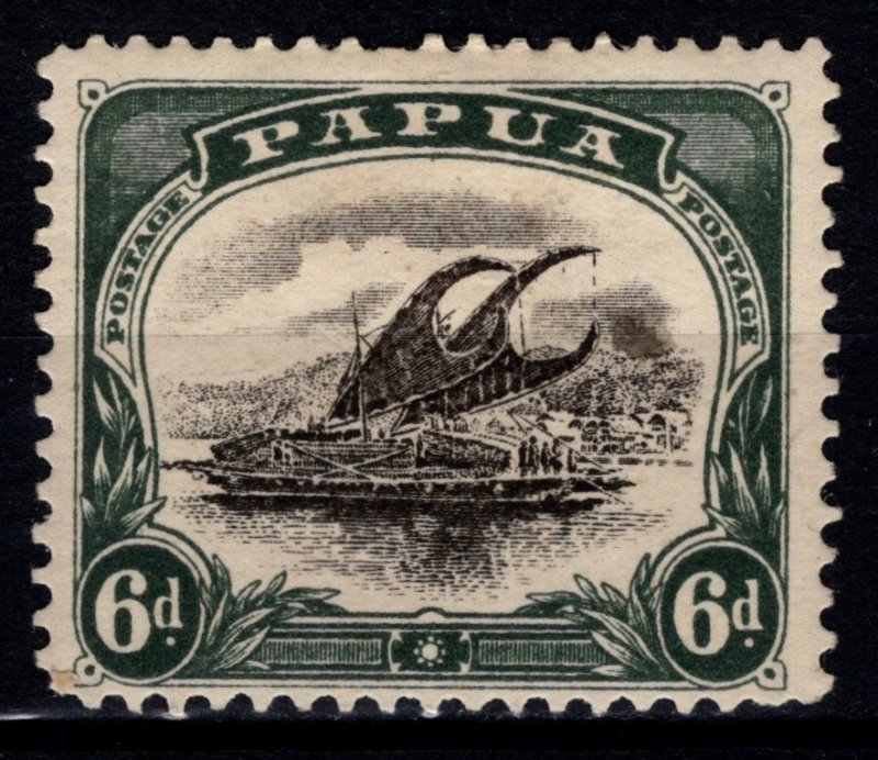 Papua New Guinea 1907-10 6d Black and Myrtle-Green [Unused]