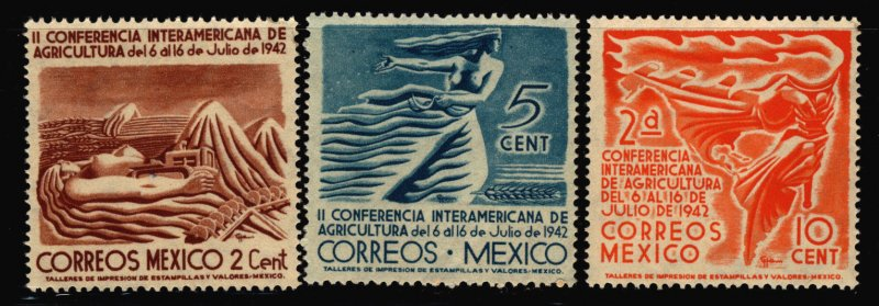 Mexico 1942 2nd Inter-American Agricultural Stamp Short Set 3 Stamps Scott 777-9
