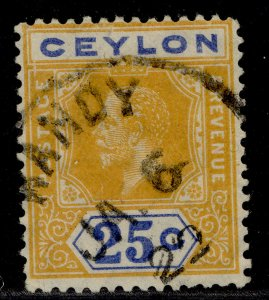 CEYLON GV SG312a, 25c yellow and blue, FINE USED.