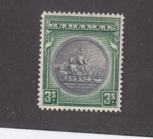 BAHAMAS  # 89 VF-MNH 3sh SEAL OF BAHAMAS / DEEP GREEN & BLACK CAT VALUE $53