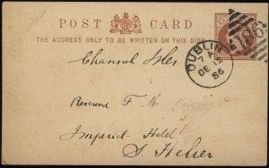 GB / Ireland - QV - 1886 DUBLIN DUPLEX NUMERAL 186 ON 1/2d CARD TO JERSEY