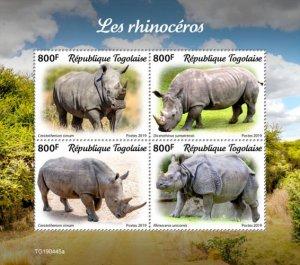 TOGO - 2019 - Rhinos - Perf 4v Sheet  - M N H