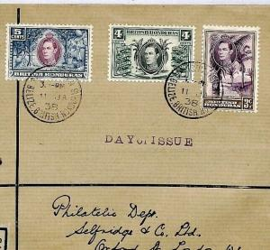 BRITISH HONDURAS FDC 1938 *Belize* Registered Selfridges First Day Cover CS255