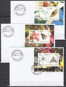 Congo Rep., 2008 issue. Orchids & Butterflies on 3 s/sheets. First day covers.