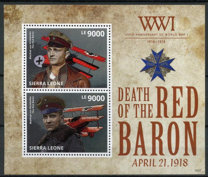 Sierra Leone 2014 MNH WWI WW1 Red Baron 2v S/S Aviation Military War Stamps