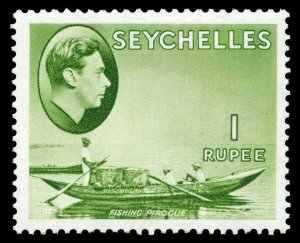 Seychelles 1938 KGVI 1r yellow-green (CH) MLH. SG 146. Sc 144.