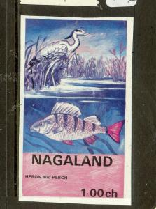 INDIA NAGALAND (B0802B) CINDERELLA BIRD FISH STAMP IMPERF  MNH