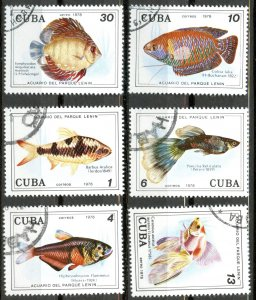 CUBA Sc# 2192-2195 C286-87 FISH Lenin Park Aquarium CPL SET OF 6  1978 used cto