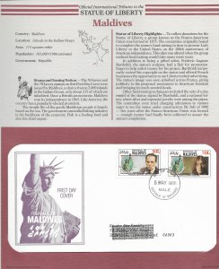 Statue of Liberty Maldives #1157-1158. 1986  FDC with write up.