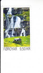 2017 Faroe Island Skora River Waterfall (Scott 672) MNH
