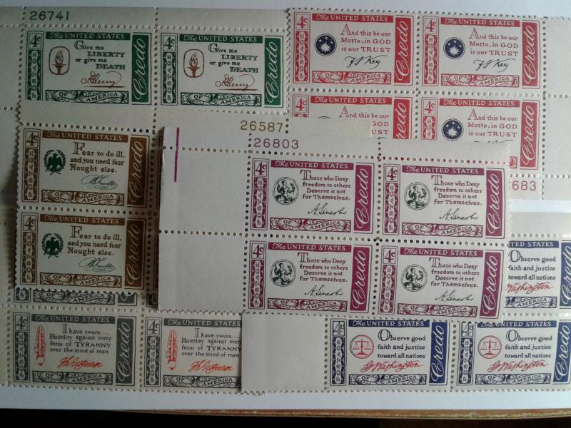 SCOTT # 1139-1144 COMPLETE AMERICAN CREDO SET PLATE BLOCKS MINT NEVER HINGED