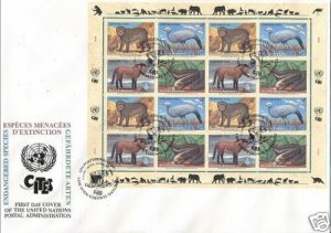 UNITED NATIONS 1997 VIENA ENDANGERED SPECIES SHEET FDC