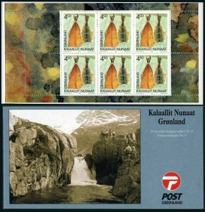 Greenland 384-385 booklet,MNH. Cultural Heritage 2001.Smoked fish,Fishing spear.
