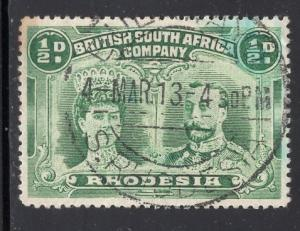 Rhodesia     #101  1910  used  queen and king 1/2p