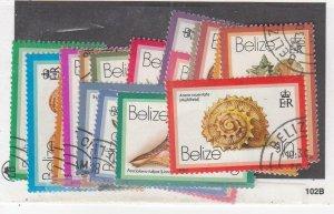 BELIZE (MK6323) # 471-487  VF-USED VARc,$ SHELLS/ INSCRIBED 1980 STAMPS CV $86