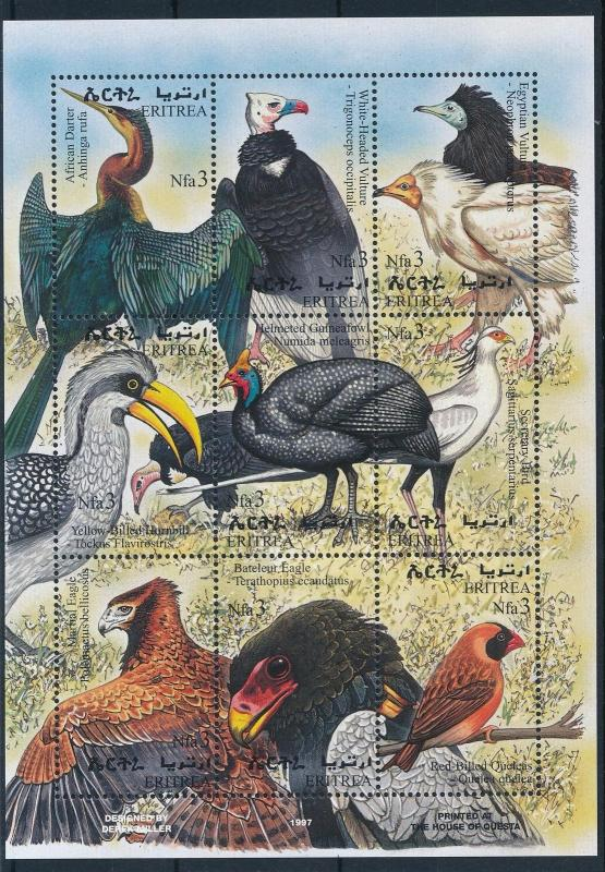 [28050] Eritrea 1998 Birds Vögel Oiseaux Ucelli Eagle Vulture MNH Sheet
