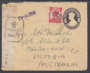 India H&G B18 used 1943 ½p Censored & Uprated Envelope to Australia