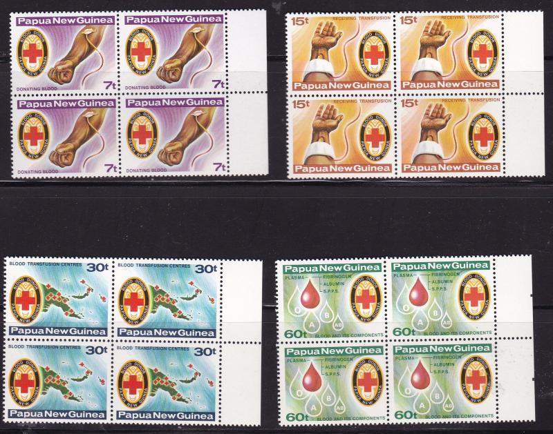 Papua New Guinea 1980 Red Cross Blood Donor Block of 4 Margin copy VF/NH