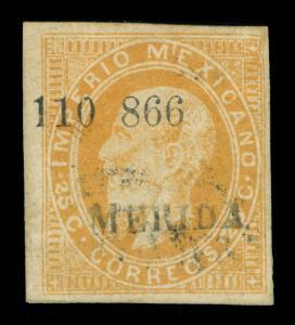 MEXICO 1866 Maximilian 25c orange - MERIDA - district ovpt. Sc# 29 used