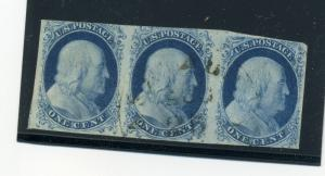 8 Franklin Types III Pos 99R2 in Strip of 3 Stamps w/Type II's PF Cert (8-99R2)