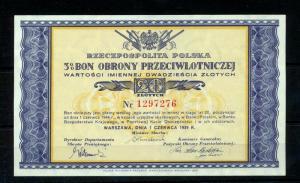 Poland 1939 Air Defence Receipt Warsaw War Coupon Obrony Polska 20ZL (KM802s