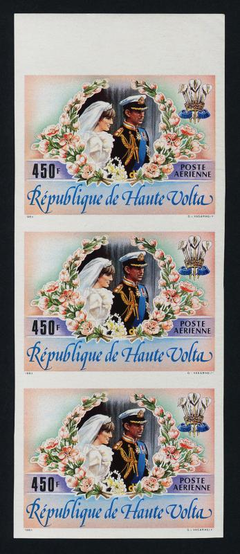 Upper Volta C276 imperf strip of 3 MNH Prince Charles, Princess Diana Wedding