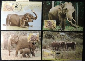sri lanka 1986 WWF asian elephants 4 values maxicard animals mammals